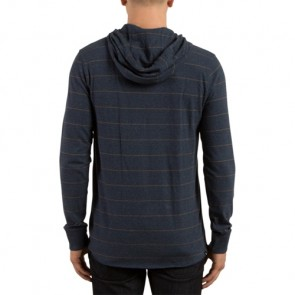 Volcom Layer Glitch Long Sleeve Hooded Top - Indigo