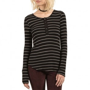 Volcom Women's First Place Henley Top - Black Combo