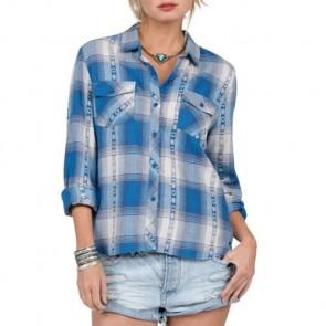 Volcom Women's Kindling Flannel - Electric Blue