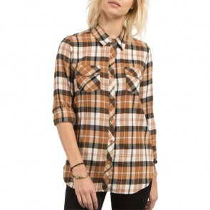 Volcom Women's Desert Fly Long Sleeve Flannel - Caramel