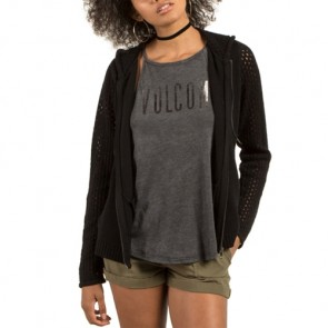 Volcom Women's Hey Meshter Zip-Up Hooded Sweater - Black