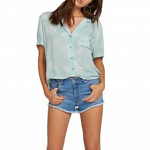 Volcom Women's Gen Wow Short Sleeve Shirt - Light Blue
