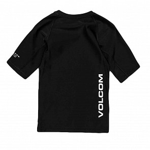 Volcom Youth Lido Solid Short Sleeve Rash Guard - Black