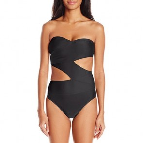 Volcom Women's Simply Solid One-Piece Cutout Swimsuit - Black