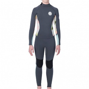 Rip Curl Youth Girls Dawn Patrol 4/3 Back Zip Wetsuit - Charcoal