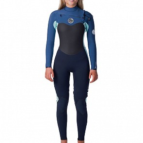 Rip Curl Women's Flashbomb 3/2 Chest Zip Wetsuit - Blue