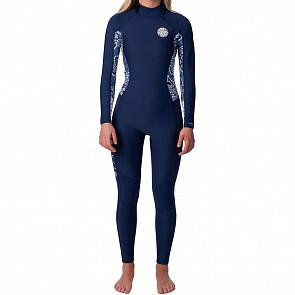 Rip Curl Women's Dawn Patrol 3/2 Back Zip Wetsuit - Dark Blue