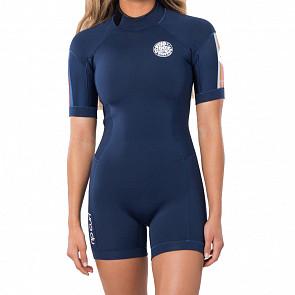 Rip Curl Women's Dawn Patrol 2mm Short Sleeve Back Zip Spring Wetsuit - Stripe Pack
