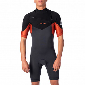 Rip Curl Dawn Patrol 2mm Short Sleeve Chest Zip Spring Wetsuit - Burnt Orange